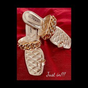 SZ 8 Gold Chain Toe Ring Sandal square toe